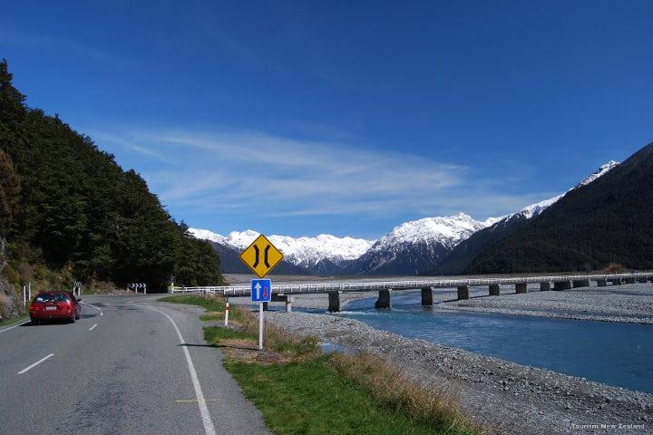 one-way bridge -pont à une voie - nouvelle-zelande